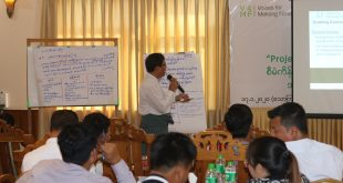 U Aung Thant Zin, CEO of MERN is presenting project's inside and experience implemented in Tanintharyi region